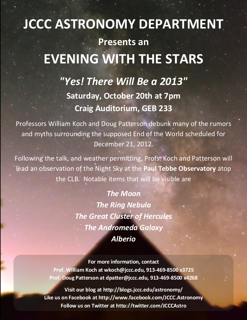 Evening With The Stars – Yes, there WILL be a 2013