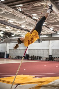 Jessica Tingle practices her pole vaulting. Photo by Andrew Shepherd