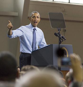 Jan 29, 2015: President Barack Obama spoke at KU about middle class economics. Photo by Julia Larberg.