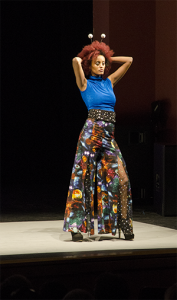 Students perform in the fashion show in Yardley Hall. The garments were either created by students or repurposed by students. Photos by Julia Larberg