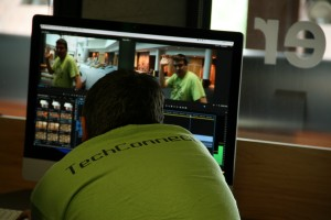 Students with Tech Connect learn how to edit video at the second annual Skills to Succeed workshop July 21 on the college's campus. Pete Schulte / The Campus Ledger