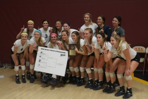 The Cavalier's volleyball team celebrates their district title. The team heads to Phoenix the 19th-21st for Nationals.