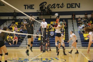 Michelle Tennant going up for a kill in the Cavs 3-0 sweep of Cowley in the fifth place match at nationals.