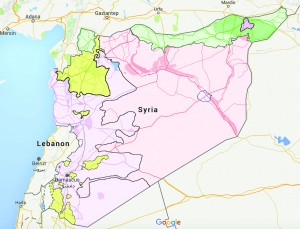 The map above outlines current land ownerships in the Syrian Civil War.