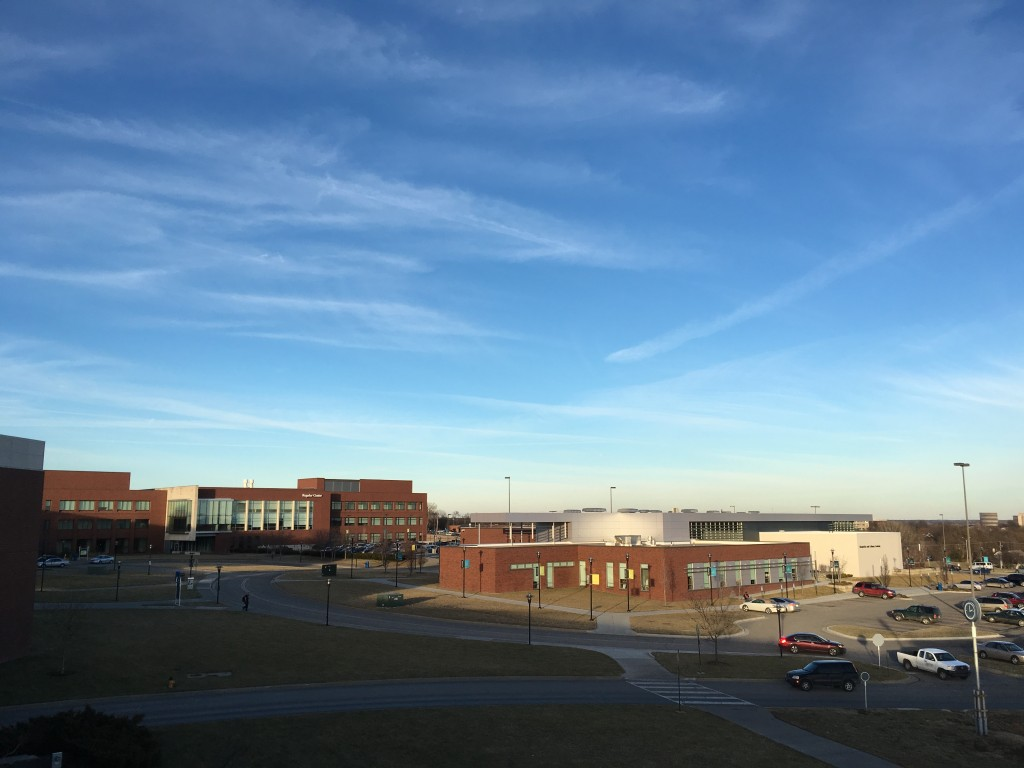 Mostly clear skies dominated the skyline from on top of Galileo's Garage on campus. Photo by Pete Schulte