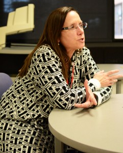 Spanish Professor Christina Wolff talks about her role in assisting students on campus as well as some of the difficulties and stresses she encounters while working. Photo by Andrew Hartnett.