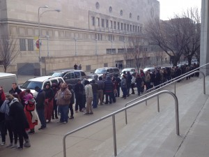 Guests line up in front of the Kansas City Convention Center in anticipation of a visit by Presidential hopeful Bernie Sanders. Photo by Andrew Hartnett.