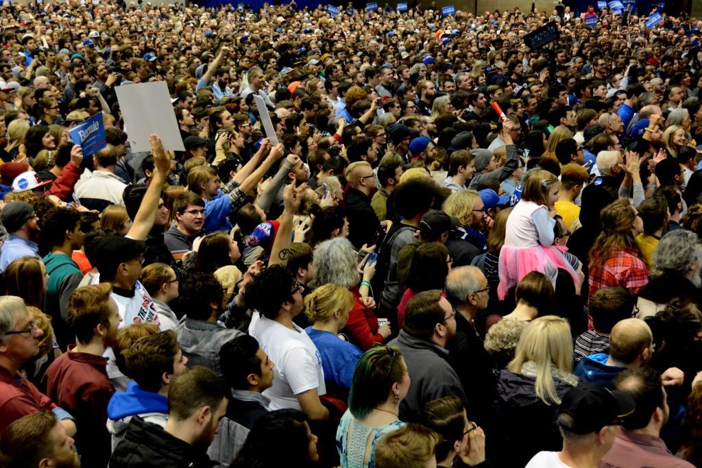 Thousands of people poured into Bartle Hall to hear presidential candidate Bernie Sanders speak about issues affecting Missouri, Kansas and the United States. Photo by Andrew Hartnett