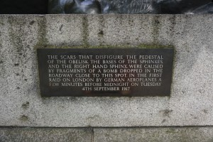 Sign below sphinx at Cleopatra's Needle, London, England