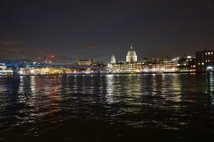 London at night (view of St. Paul's Cathedral and the Millennium Bridge)