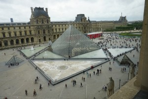 Glass pyramid and courtyard, Louvre, Paris, France