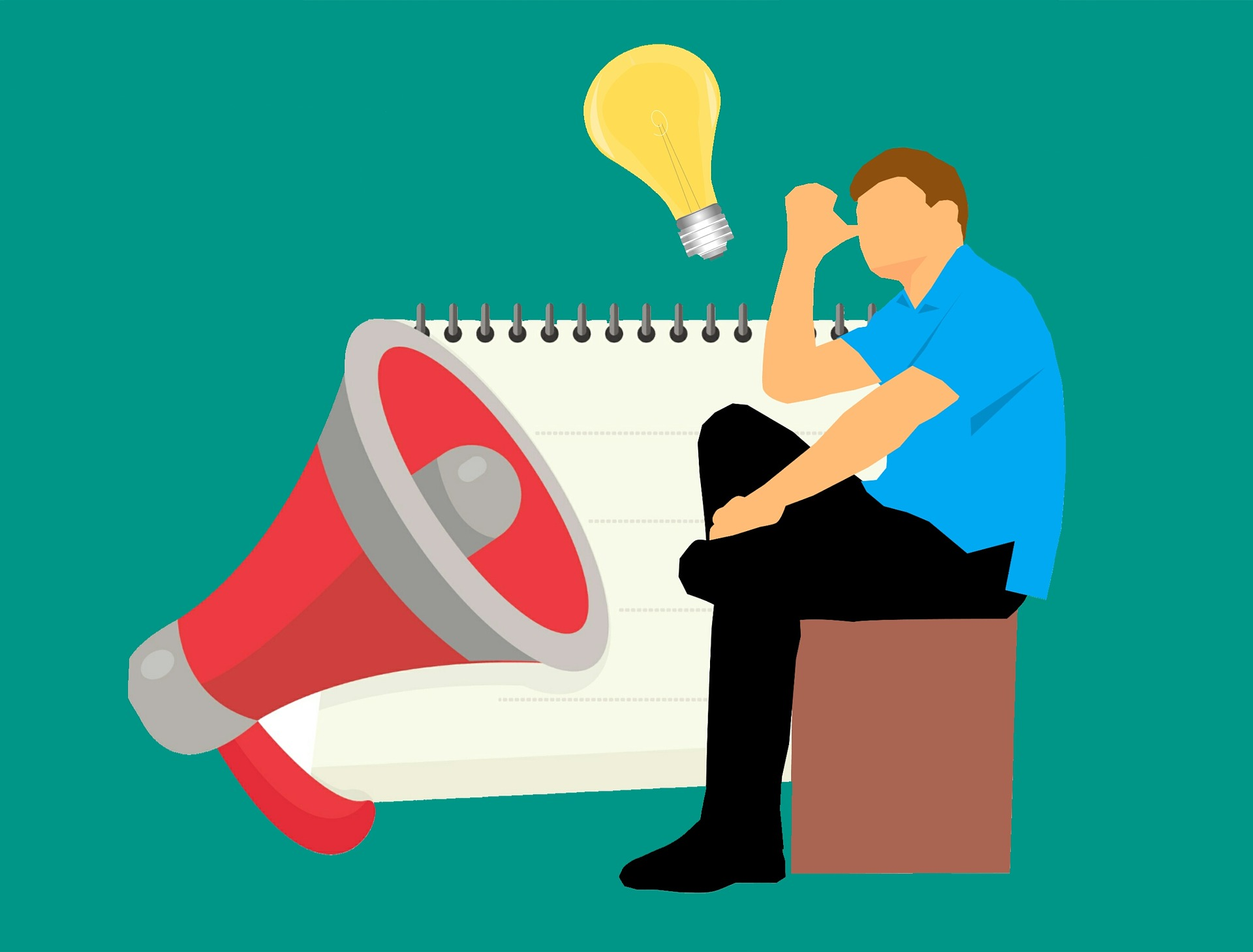 graphic of man sitting with megaphone