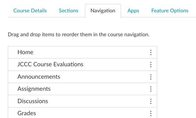 screen shot of canvas evaluations