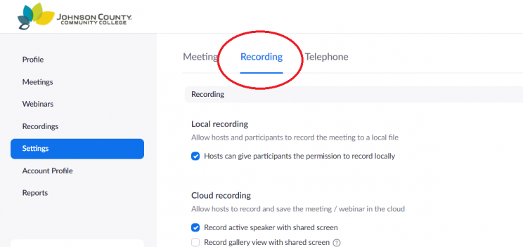 "screen shot showing the ""Recording"" subsection of the Zoom account profile ""Settings"" page, with the ""Recording"" tab highlighted"
