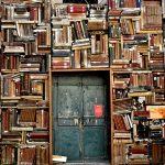 wall made of old books